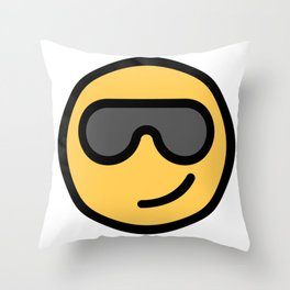 Smiley Face   Cool Sunglasses Happy Face   Cute Grey Glasses Throw Pillow
