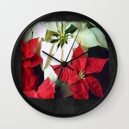 Mixed Color Poinsettias 2 Blank P4F0 Wall Clock