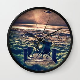 Fishing Above the Clouds Wall Clock