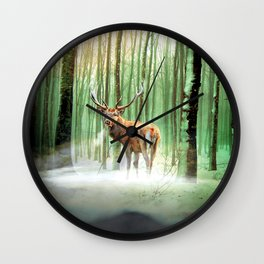 a deer in a mystic forest Wall Clock