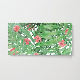 Ferns and red flowers Metal Print