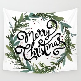 Merry Christmas Wreath Wall Tapestry