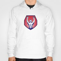 crossfit Hoodies featuring Crossfit Training Athlete Rings Retro by retrovectors