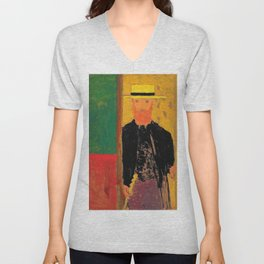 Edouard Vuillard - Self-portrait With Cane And Boater - Digital Remastered Edition Unisex V-Neck