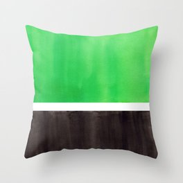 Abstract Midcentury Modern Minimalism Pop Art Colorful Emerald Green Black Squares Rothko Throw Pillow