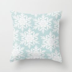 Wedgewood Blue Winter Christmas Snowflake Design Throw Pillow