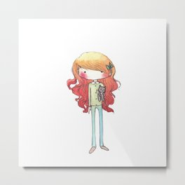 Little redhead with a kitten Metal Print