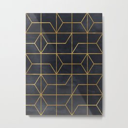 Black & Gold Geometric Art Deco Pattern Seamless Vintage Glamorous 1920s Style Metal Print