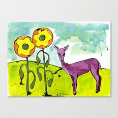 Deer with Sunflowers Canvas Print