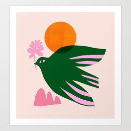 Abstraction_BIRD_SUN_Beautiful_Day_Minimalism_001 Art Print