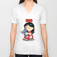 ohana V-neck T-shirts featuring Ohana Lilo and Stitch by Jasmine Victoria