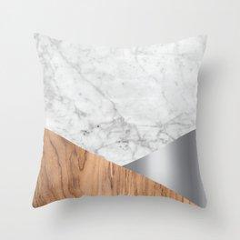Geometric White Marble - Wood & Silver #157 Throw Pillow