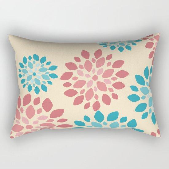 Flower Flurries Beige Rectangular Pillow