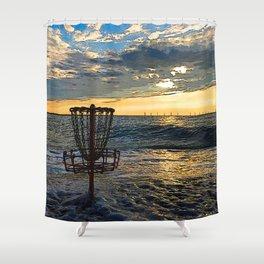 Disc Golf Basket Chesapeake Bay Virginia Beach Ocean Sunset Shower Curtain