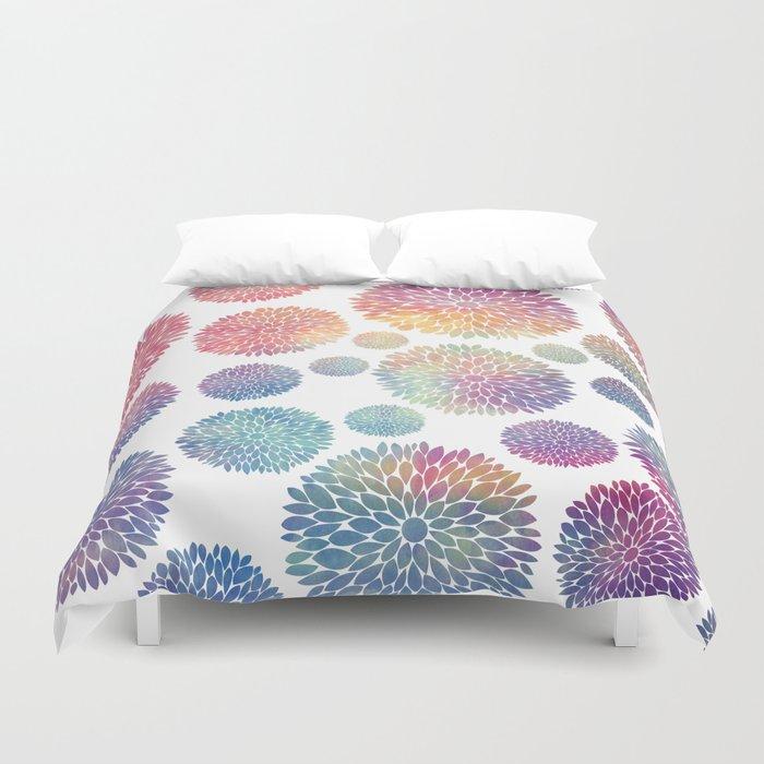 Watercolor Flowers Duvet Cover
