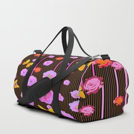 YELLOW BUTTERFLIES AMONG  FLOATING PINK  ROSES Duffle Bag