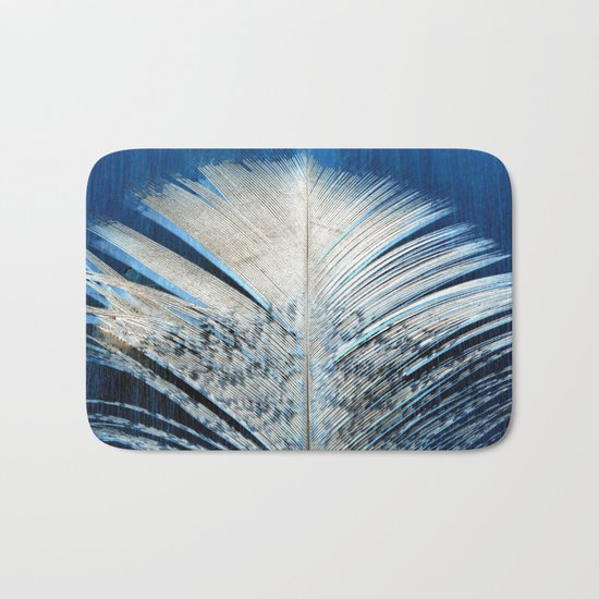 Feather | Feathers | Spiritual | White and Blue Feather | Nature Bath Mat