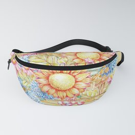 October  Floral Basket Watercolor Fanny Pack