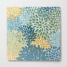 Modern Floral Prints, Teal and Yellow Metal Print