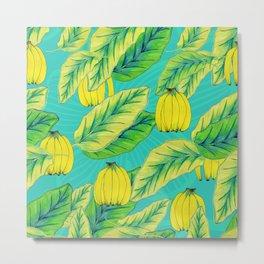 Banana Jungle - Blue Metal Print