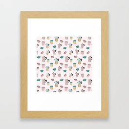 Coffee pattern with pot and cups Framed Art Print