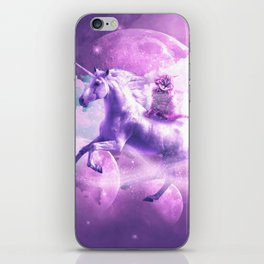 Kitty Cat Riding On Flying Space Galaxy Unicorn iPhone Skin