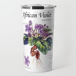 African Violet Botanical Illustration  Travel Mug