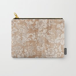 Vintage white brown grunge shabby floral Carry-All Pouch