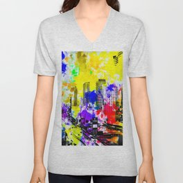 building of the hotel and casino at Las Vegas, USA with blue yellow red green purple painting abstra Unisex V-Neck