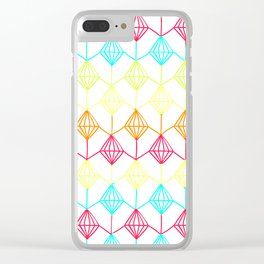Neon diamonds pattern Clear iPhone Case