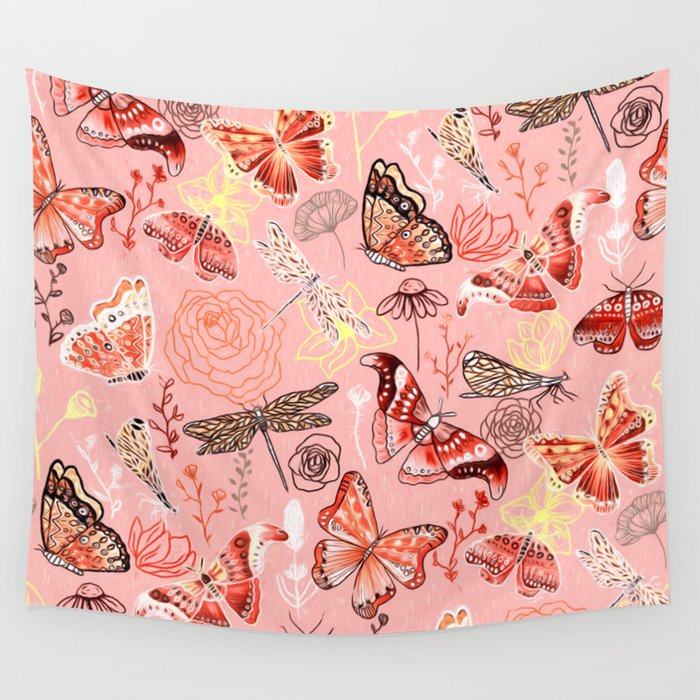 Dragonflies, Butterflies and Moths With Plants on Flamingo Pink Wall Tapestry