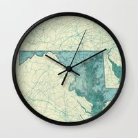 maryland Wall Clocks featuring Maryland State Map Blue Vintage by City Art Posters