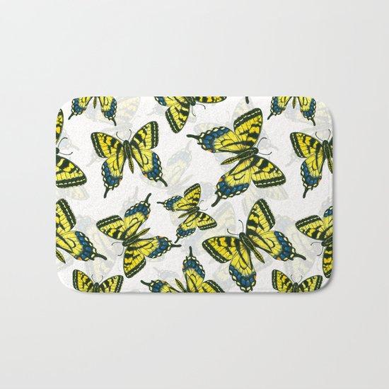 Tiger swallowtail butterfly watercolor pattern Bath Mat