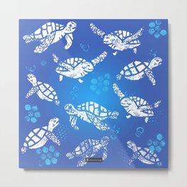 White turtle print on blue Metal Print