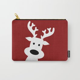 Reindeer on red background Carry-All Pouch