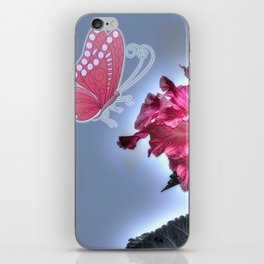 vinous flower and butterfly iPhone Skin