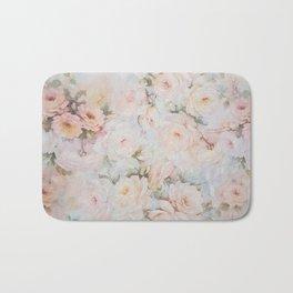 Vintage romantic blush pink ivory elegant rose floral Bath Mat