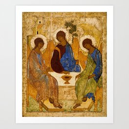 Holy Trinity Icon Byzantine Orthodox Rublev Gift for Priest Religious Artwork Art Print