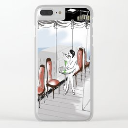 woman in bar Clear iPhone Case