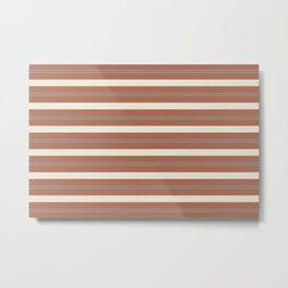Slate Violet Gray and Creamy Off White Stripes Thick and Thin Horizontal Lines on Cavern Clay Metal Print