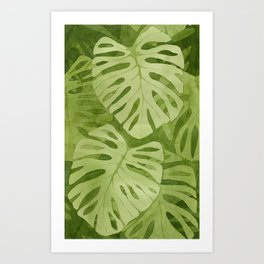 Watercolor Monstera Leaves Art Print