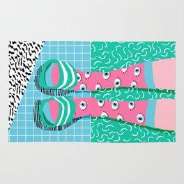Chillax - memphis throwback style retro classic 1980s 80s grid pattern socks fashion apparel Rug