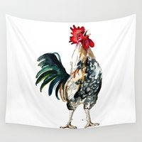 rooster Wall Tapestries featuring Rooster by Bridget Davidson