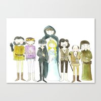 the princess bride Canvas Prints featuring Princess Bride Cast Cartoon by Newspaper Balloon