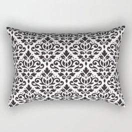Scroll Damask Pattern Black on White Rectangular Pillow