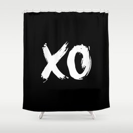 XO Hugs and Kisses white and black gift for her girlfriend xoxo bedroom art and home room wall decor Shower Curtain