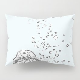 Two Tailed Duck and Jellyfish Pale Blue Pillow Sham