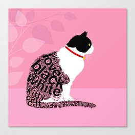 Typographic black and white kitty cat portrait on pink 2 #typography #catlover Canvas Print