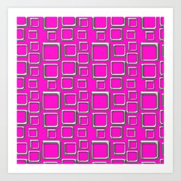 Silver Squares On Pink Art Print