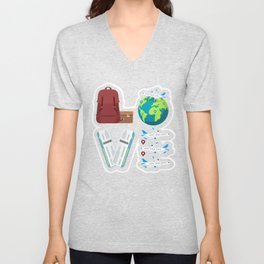 Traveling Catch Flights, Exploring The World, Catching  Flying Travels Unisex V-Neck